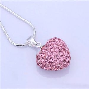 Pink Puff Heart Necklace New With Tags NWT
